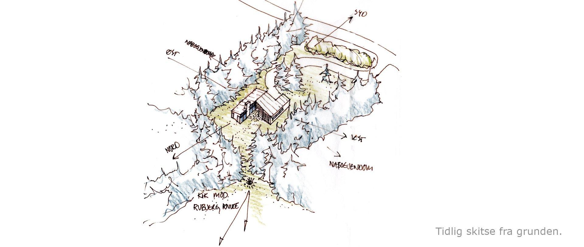 Situationsplan-skitse Rubjerg-sommerhuset