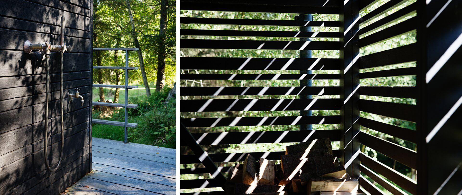 Træhus udendørs bruser